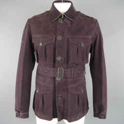 Burberry Prorsum 42 Eggplant Suede Patch Pockets Belted Jacket
