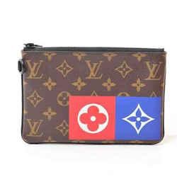 Auth Louis Vuitton Louis Vuitton Monogram Zip Pouch Mm Leather