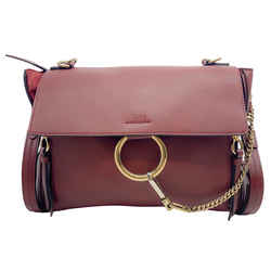 Chloe Large Faye Sienna Red Leather Shoulder Bag