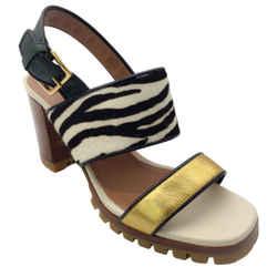 Marni Gold Zebra Print Pony Calf Hair Sandals