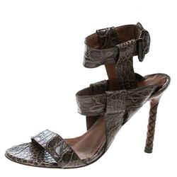 Bottega Veneta Brown Alligator Leather Ankle Strap Sandals Size 37.5