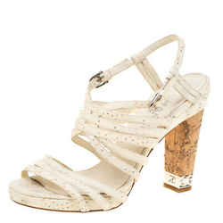 Chanel White Leather Chain Embellished Cork Heel Strappy Sandals Size 39