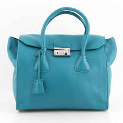 Prada Large Blue Pebbled Leather Glace Twin Pocket Flap Bag