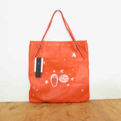 Marc by Marc Jacobs Poppy Orange Leather Thoughtful Owl $258 Tote 0316EB