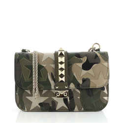 Glam Lock Shoulder Bag Camo Leather and Canvas Medium