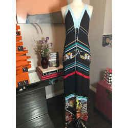 Roberto Cavalli Sz 42 Black Teal Silk Knit Maxi Butterfly Dress 2400-265-122719