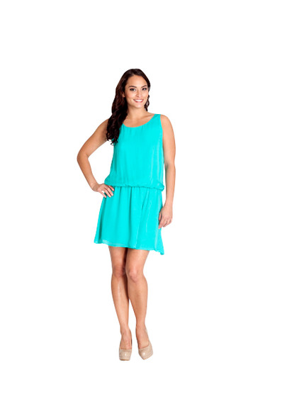 Alice + Olivia Sleeveless Silk Aqua Blue Draped Back Dress