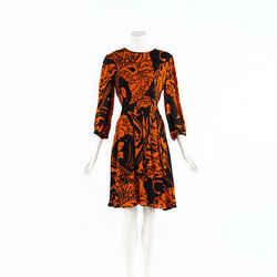Gucci Dress Black Orange Printed Silk Balloon Sleeve SZ 44
