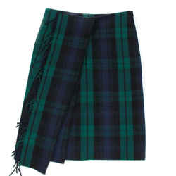 Balenciaga - New - 2018 Scottish Tartan Skirt - Blue Green Fringe - Us 4 - 36