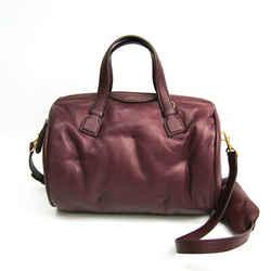 Anya Hindmarch CHUBBY BARREL Women's Leather Handbag,Shoulder Bag Wine BF510238