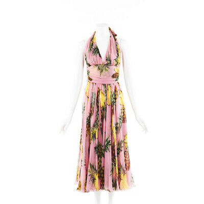 Dolce & Gabbana Pineapple Silk Midi Halter Dress SZ 40
