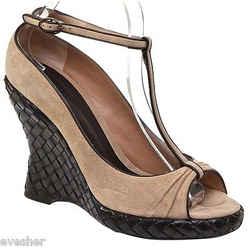 Bottega Veneta Tan Suede Brown Leather Platform Wedge Sandal Intrecciato 38.5