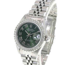 Rolex Lady Datejust 69174 26mm Green Roman Dial Diamond Bezel -Quickset