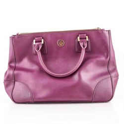 Tory Burch Saffiano Satchel Shoulder Bag Purple One Size Authenticity Guaranteed