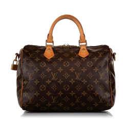 Vintage Authentic Louis Vuitton Brown Monogram Speedy Bandouliere 30 France
