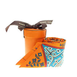Vintage Authentic Hermes Orange Silk Fabric Labre De Vie Twilly Scarf France