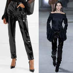 sz 31 NEW $890 SAINT LAURENT Runway Black HIGH SHINE VINYL Slim Leg FALL PANTS