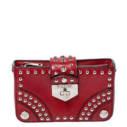 Prada Red Leather Studded Turnlock Clutch