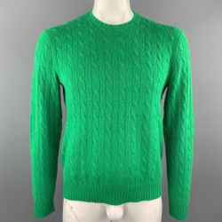 RALPH LAUREN Size L Green Cable Knit Cashmere Crew-Neck Sweater
