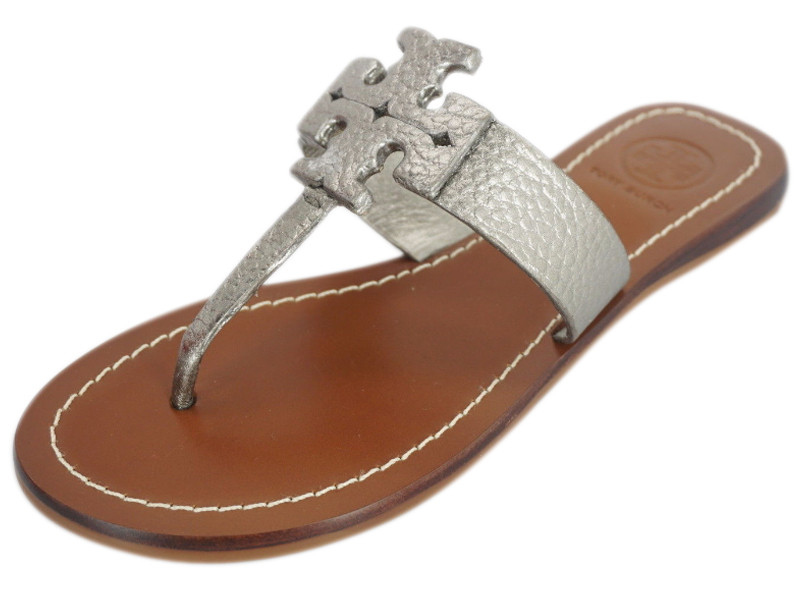 Nib Tory Burch Moore Silver Pebbled Leather T Logo Thong Sandal Sz Leprix