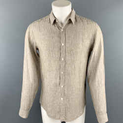 THEORY Size M Taupe Heather Linen Button Up Long Sleeve Shirt