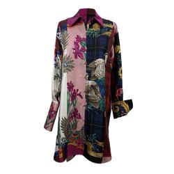 Salvatore Ferragamo Patchwork Silk Printed Long Line Shirt Size 44 IT