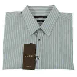 Nwt Gucci 307648 Men's Melange Stripe Muslin Slim Cotton Shirt, 17.5/44