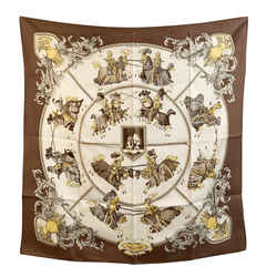 Hermes Paris Vintage Brown Silk Scarf Chevalerie 1970 Latham Defects