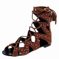 Giuseppe Zanotti Brown Studded Suede Gladiator Flat Sandals Size 38