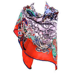 ETRO SILK AND WOOL SCARF IN VIBRANT RED, GRAY AND MULTI PAISLEY PATTERN