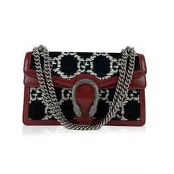 Gucci Black White Monogram Tweed Dionysus Small Shoulder Bag