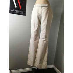 Alexander Mcqueen Sz It 44 Beige Cotton Flared Flat Front Pants - Nwt