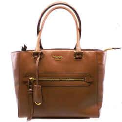 Prada Glace Calf Twin Pocket Tote Cognac Brown Leather Tote Bag 1bg227
