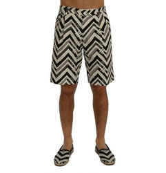 Dolce & Gabbana White Black Striped Cotton Linen Men's Shorts