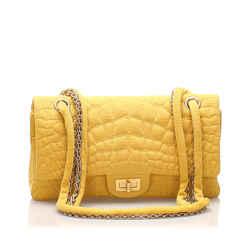 Vintage Authentic Chanel Reissue Croc Stitch Cotton Double Flap Bag