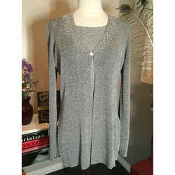 Les Copains 2 Pc Gray Beaded Cardigan & Shell Sweater Set Nwt 2537-3-61220