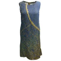 Akris Punto Blue & Tan Viscose Stretch Crepe Cocktail Dress