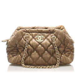 Brown Chanel Classic Bubble Lambskin Leather Shoulder Bag