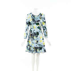 Erdem Dress Blue Floral Print Flounce SZ 14 UK