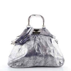 Resin Handle Doctor Bag Distressed Metallic Leather Large