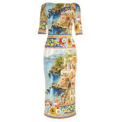Dolce&Gabbana Multi Print Sorrento Embellished Silk Dress
