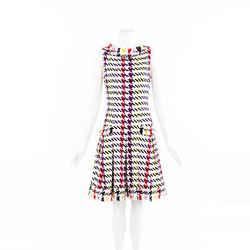 Oscar de la Renta 2018 Mulberry Check Silk Tweed Dress SZ 4