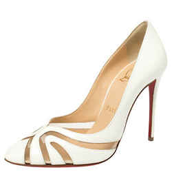 Christian Louboutin White Patent Leather and Mesh Olive 100 Pumps Size 36.5