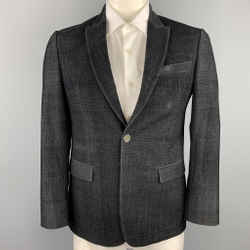 JUST CAVALLI Size 40 Black Textured Polyester Blend Peak Lapel Sport Coat