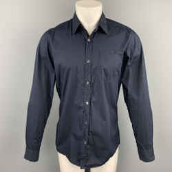 DRIES VAN NOTEN Size S Navy Cotton Button Up Long Sleeve Shirt