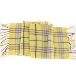 "BURBERRY: Yellow, Nova Check 100% Wool Scarf With Fringe 44"" x 8"" (ru)"