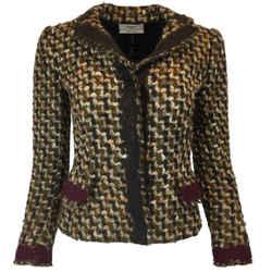 Prada Brown Tweed Wool Jacket Blazer