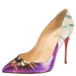 Christian Louboutin Multicolor Floral Printed Canvas Pointed Toe So Kate Pumps