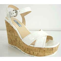Prada White Patent Leather Cork Espadrille Wedge Sandals Size 10 40 Nib $790