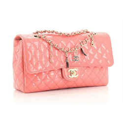 Chanel Classic Flap CC Charms Quilted Patent Leather Medium Salmon Pink Shoulder Bag
